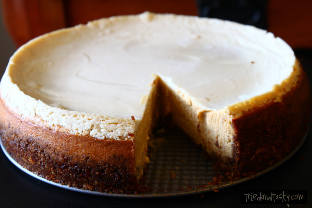 Pumpkin Cheesecake with Gingersnap-Pecan Crust