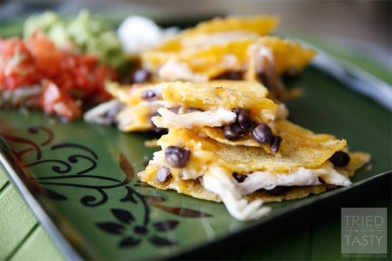 Quick & Easy Black Bean, Cheese & Chicken Quesadilla - Tried and Tasty