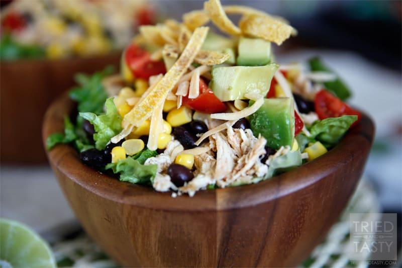 Healthy Taco Salad with Creamy Avocado Cilantro Dressing // Tried and Tasty