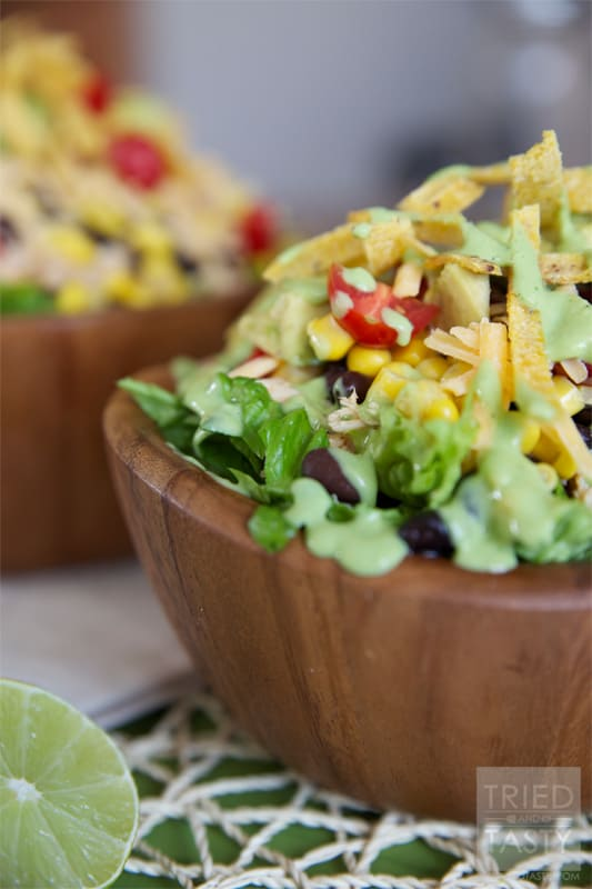Healthy Taco Salad with Creamy Avocado Cilantro Dressing // Tried and Tasty