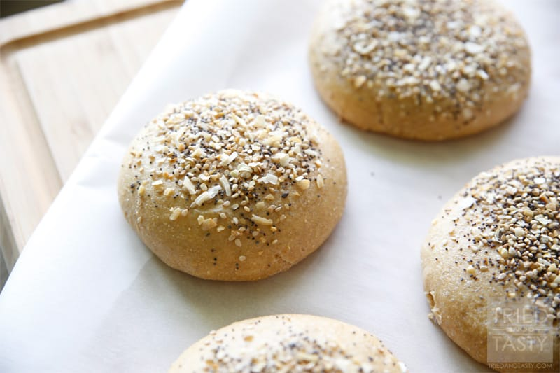 Homemade Whole Wheat Everything Hamburger Buns // Tried and Tasty