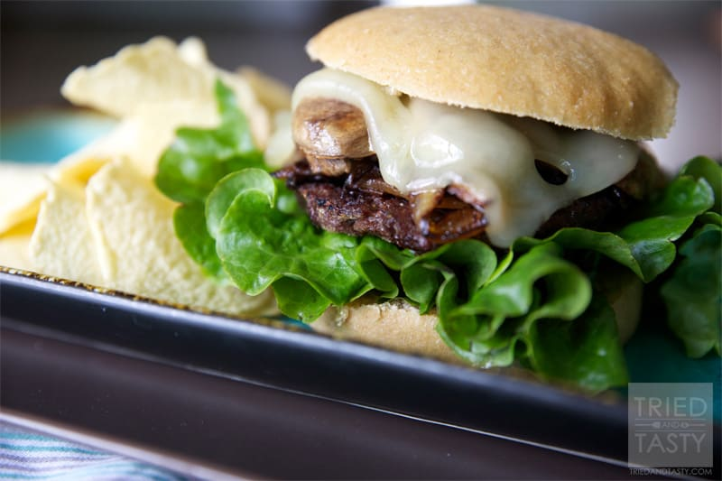 Sauteed Mushroom & Swiss Burger with Caramelized Onions // Tried and ...