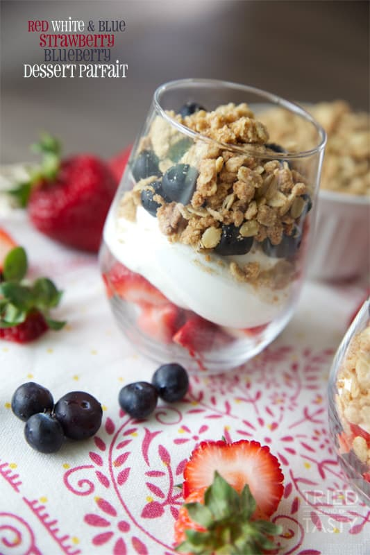 Red White & Blue Strawberry Blueberry Dessert Parfait // Tried and Tasty