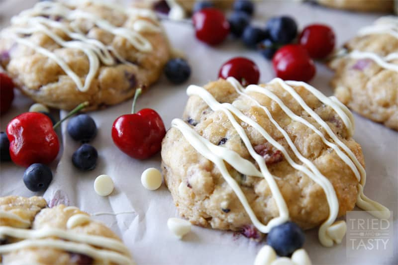 White Chocolate Cherry Blueberry Whole Wheat Scones // Tried and Tasty