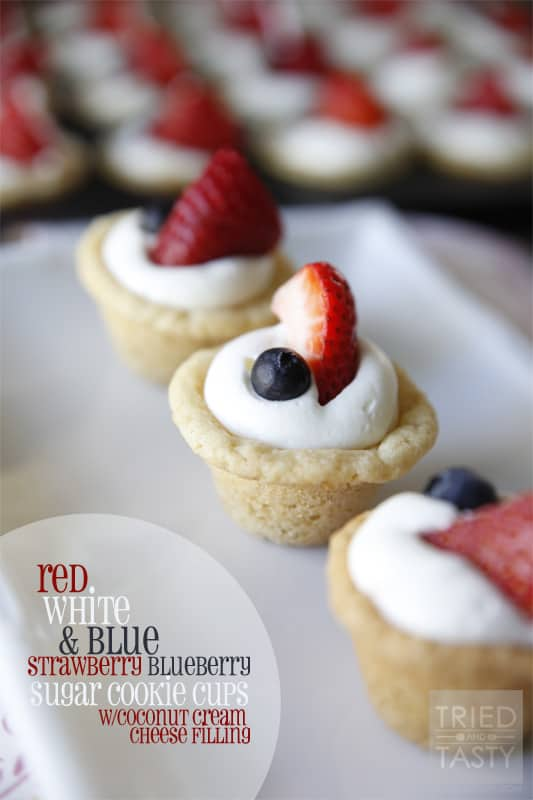 Red White & Blue Strawberry Blueberry Sugar Cookie Cups with Coconut Cream Cheese Filling // Tried and Tasty