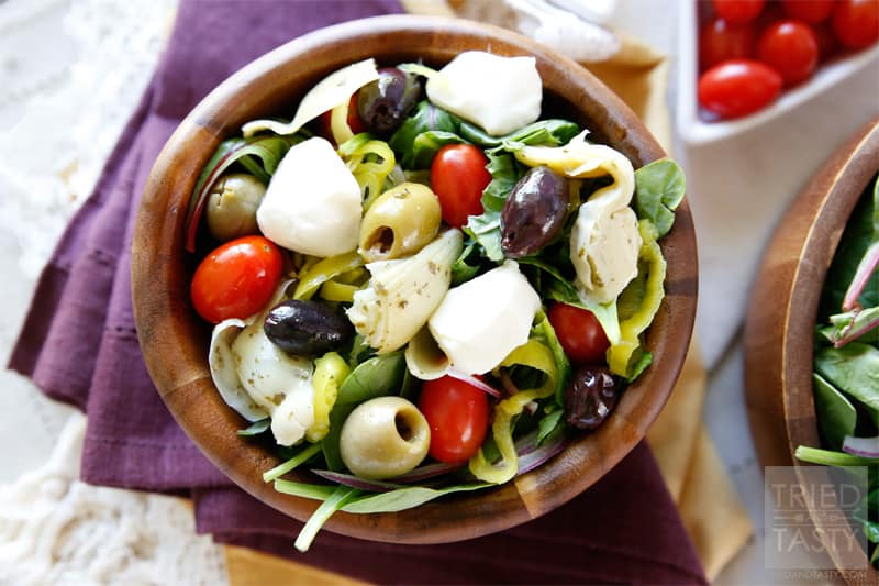 Mediterranean Salad with a Creamy Feta Dressing - Tried ...