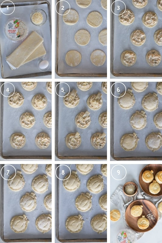 A step-by-step collage of how to make hand pies using puff pastry, green chile cheese dip, parmesan cheese & an egg