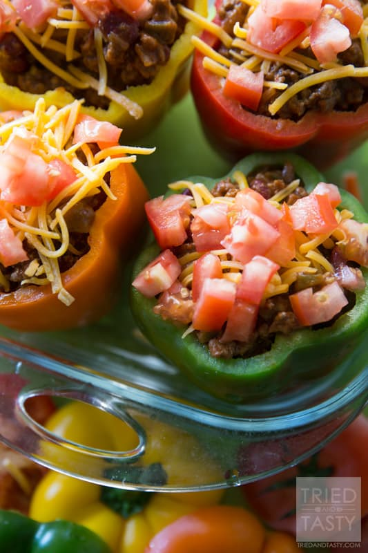 Taco Stuffed Peppers // Another great variation of stuffed peppers. Try these Taco Stuffed Peppers for your next taco night. | Tried and Tasty