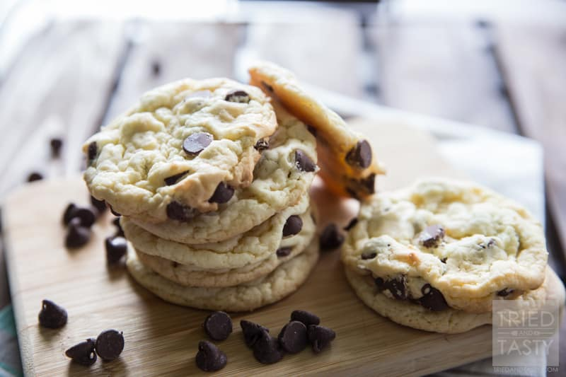Cake Batter Cookies // One of Tried and Tasty's most popular recipes, these cake batter cookies only have five ingredients and will cost you less than $5 to make two-three dozen! Perfect for parties, gatherings, potlucks, or anytime you want to satisfy your sweet tooth without a lot of fuss!   Tried and Tasty