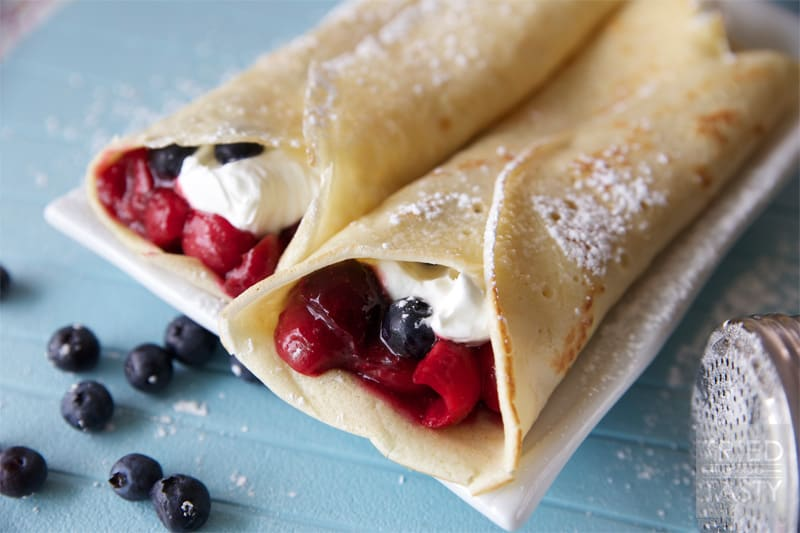 Red, White & Blue Cherry Blueberry Crepes // Tried and Tasty