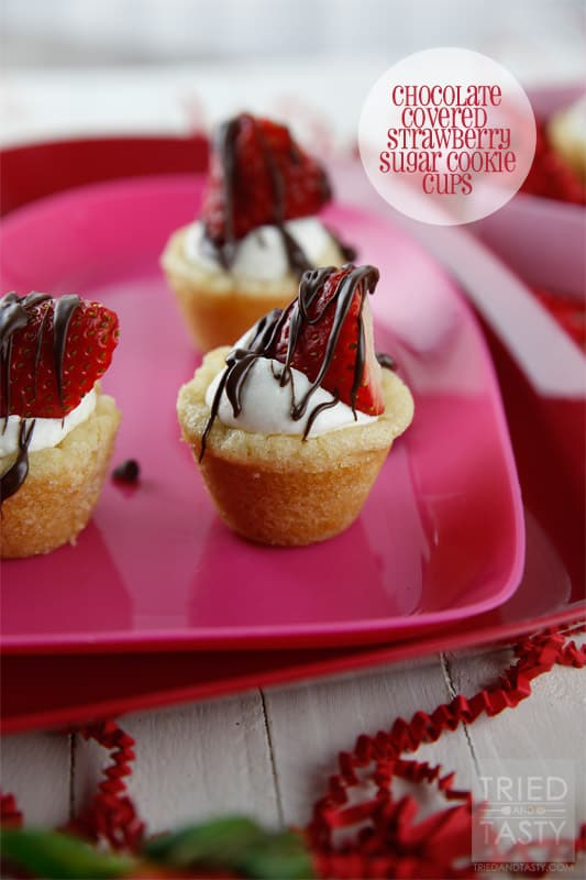 Chocolate Covered Strawberry Sugar Cookie Cups // Tried and Tasty