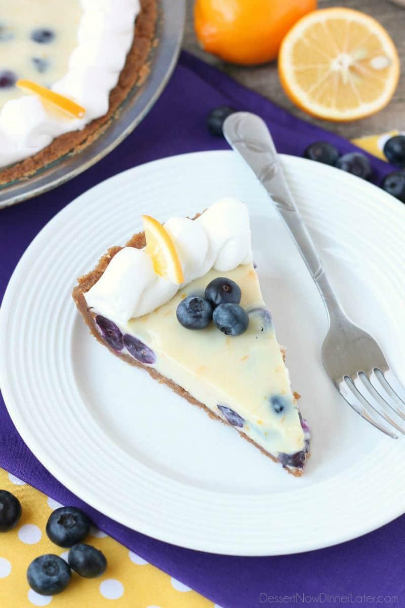 Creamy Lemon and Blueberry Pie