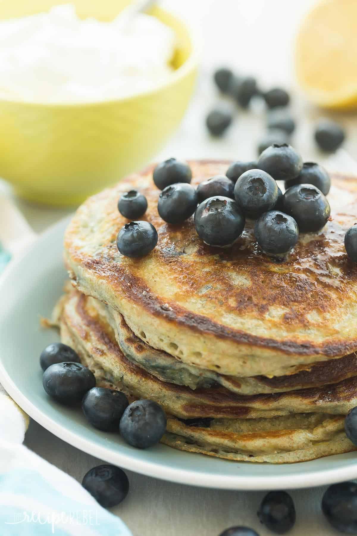 Lemon Blueberry Greek Yogurt Pancakes // The Recipe Rebel