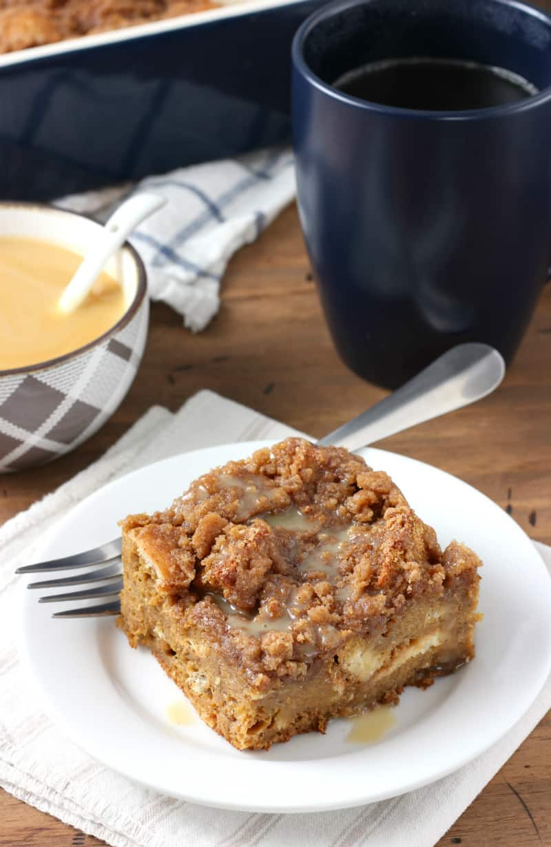 Eggnog Gingerbread French Toast Bake // A Kitchen Addiction