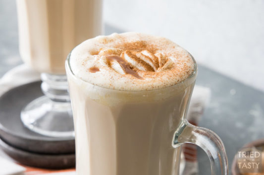 Caramel Chai Tea Latte // Move over Pumpkin Spice Latte, there's a new Latte that's sure to win you over! Chai Tea has been elevated in the delicious warm spiced drink that will satisfy every taste bud!   Tried and Tasty